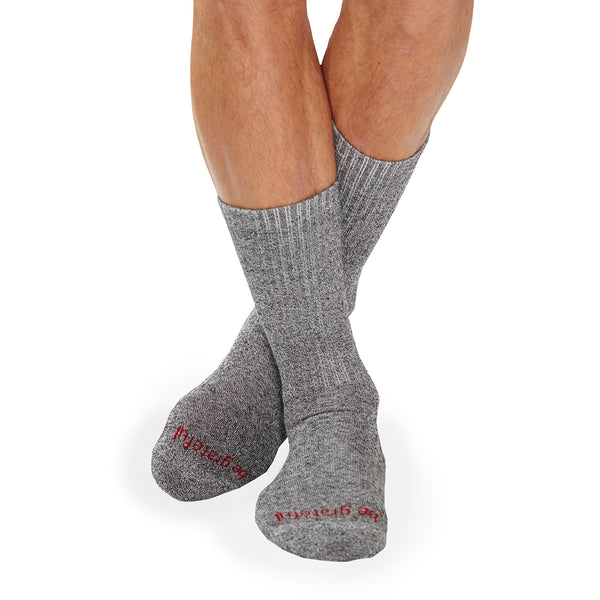 MENS CREW Be Grateful Grip Socks (Granite/Burgundy)