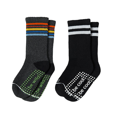 Boy 2 Pack Grip Crew Socks 2T-4T (Ian)