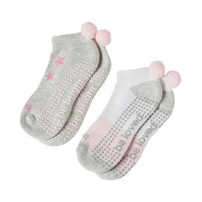Girls 2 Pack Pom Pom Grip Socks 4T-6T (Penelope)