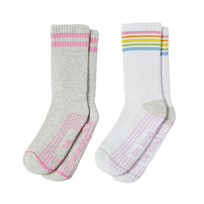 Girl 2 Pack Grip Crew Socks 4T-6T (Brynn)