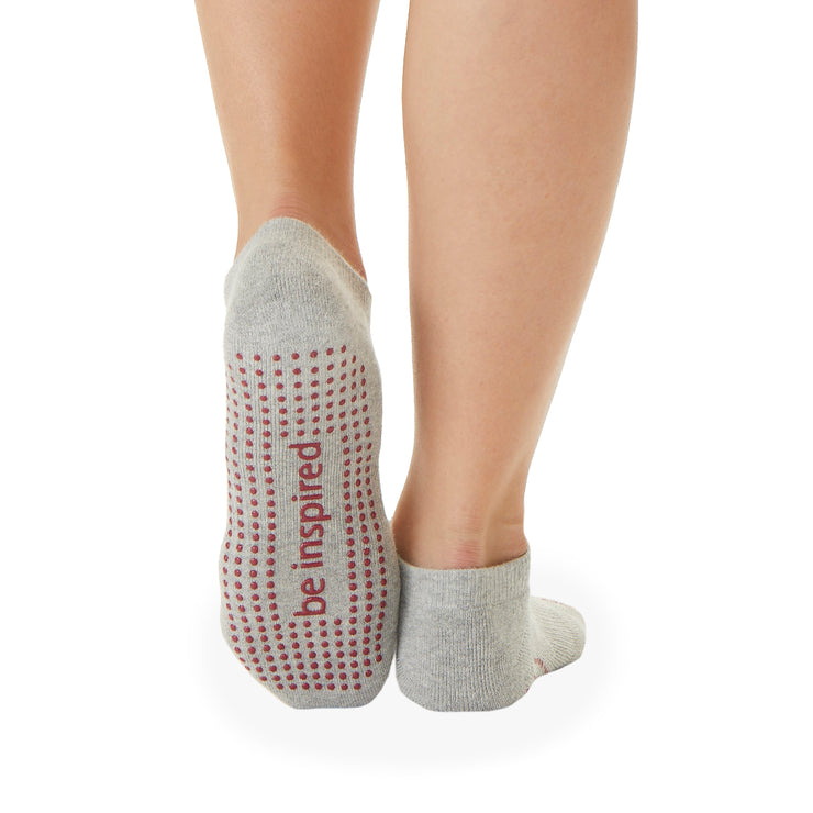 Be Inspired Grip Socks (Heather Grey/Cranbery)