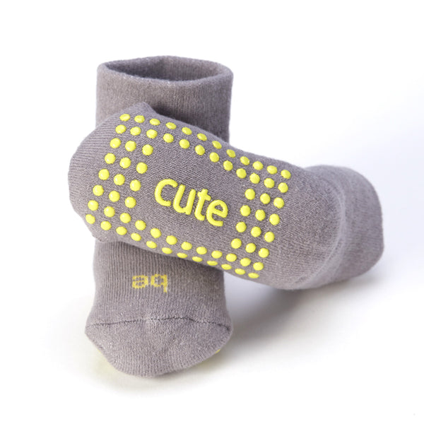 Be Cute Baby Socks (Grey/Lemon)
