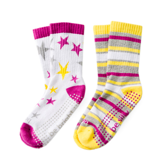 NEW Girl Multi 2 Pack Grip Socks (4T-6T)