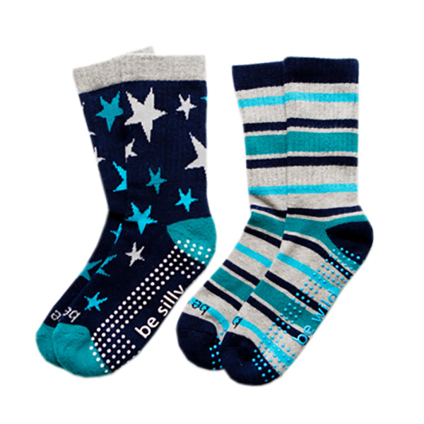 NEW Boy Multi 2 Pack Grip Socks 4T-6T (PARKER)
