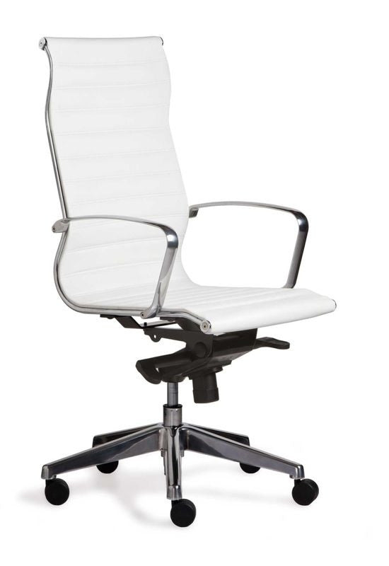 Silla Retro Respaldo Alto con Cabecera Tapiz Eco-Leather color Blanco.