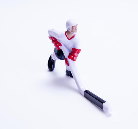 Rod Hockey Player (55mm long stick) with Steel Rod attachment, White, Red and Blue