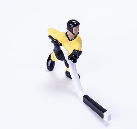 Rod Hockey Player (45mm long stick) with Steel Rod attachment, Yellow and Black (TEMPORARILY OUT OF STOCK)