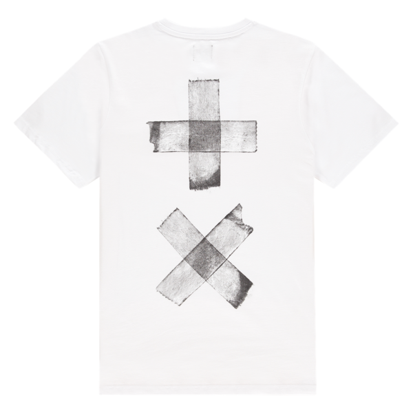 T-Shirt Taped Back Print (White/White)