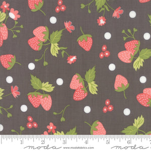 Floral Strawberry Polka Dot Grey