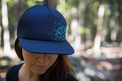Ambler Mandala Womens Trucker Hat - Navy - Model 2