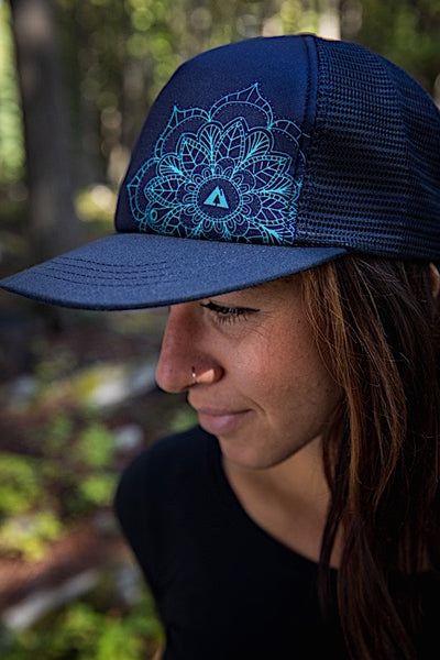 Ambler Mandala Womens Trucker Hat - Navy - Model 1