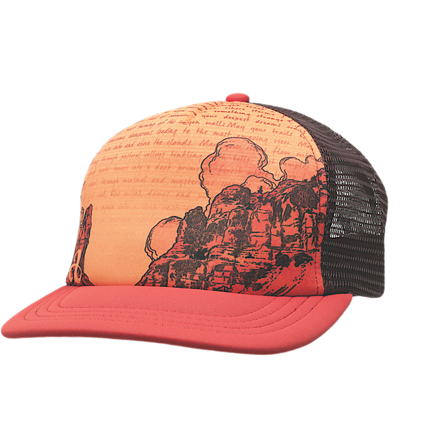 Ambler Abbey trucker hat in Nova Red