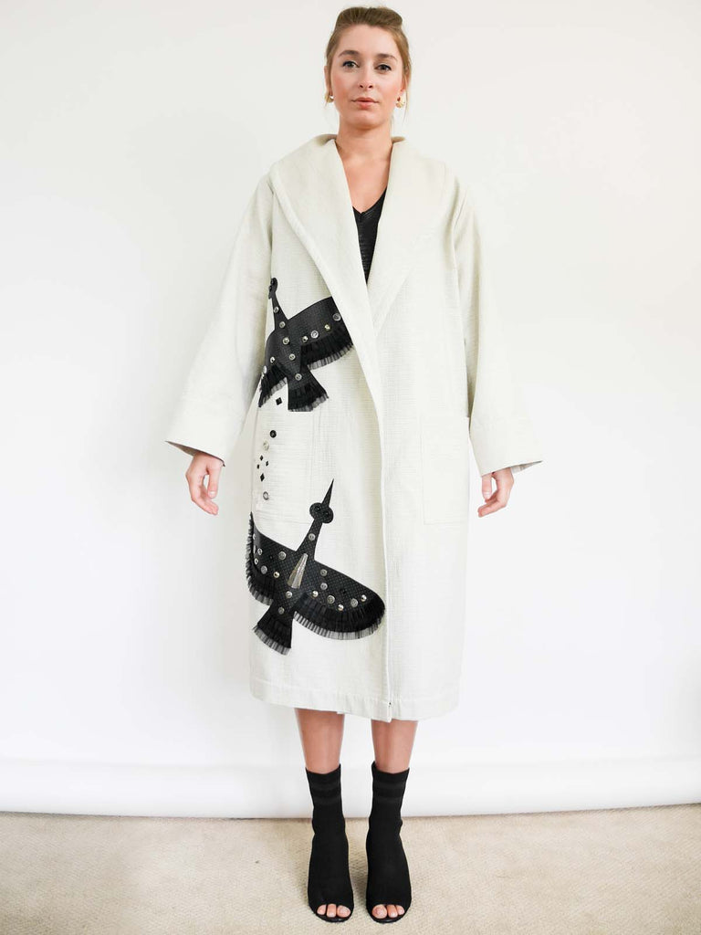 Unstructured Wrap Cotton Coat Bird Applique