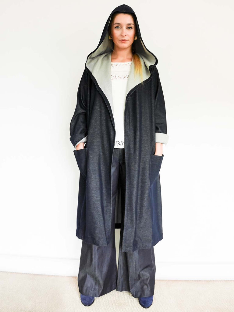 Unstructured Wrap Cotton Denim Jersey Hoodie Coat