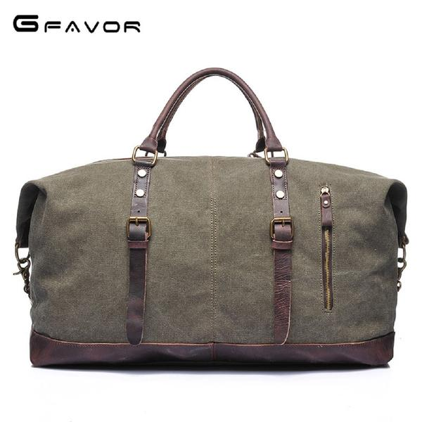 Men GFAVOR Washed Canvas Leather Travel Duffel Bag Fashionapolis