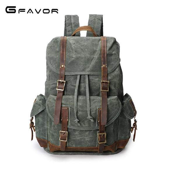 Men GFAVOR Waxed Canvas Leather Drawstring Backpack Bag Fashionapolis