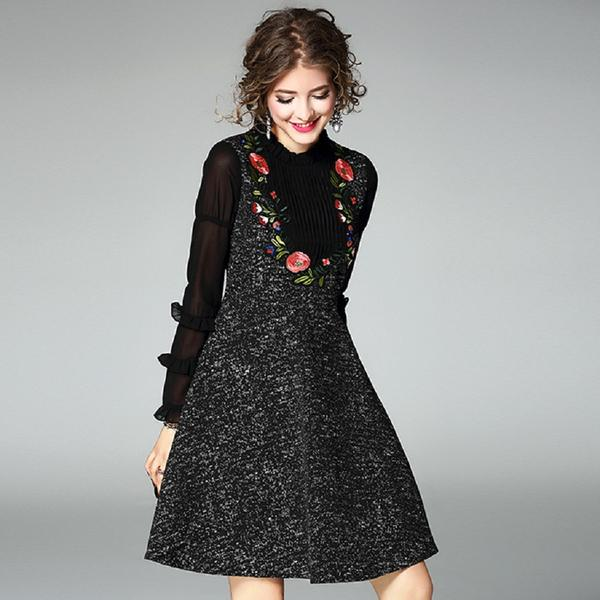 Women Flare Sleeve Blouse Embroidered Flower Midi Dress Fashionapolis