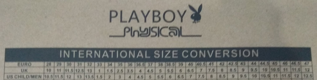 Playboy Physical Shoe Size Conversion Chart