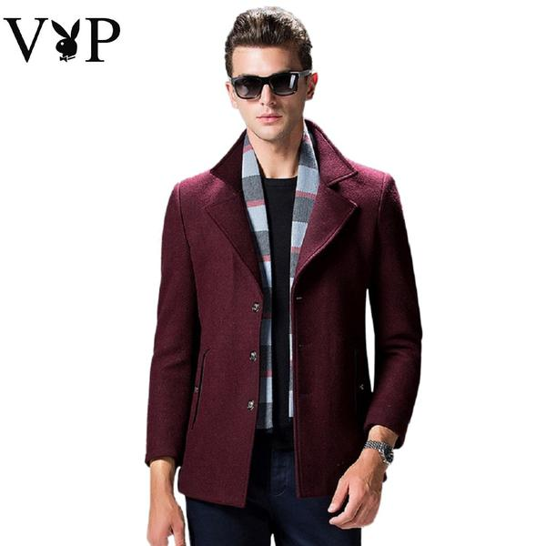 Men PLAYBOY VIP Wool Coat with Scarf Fashionapolis