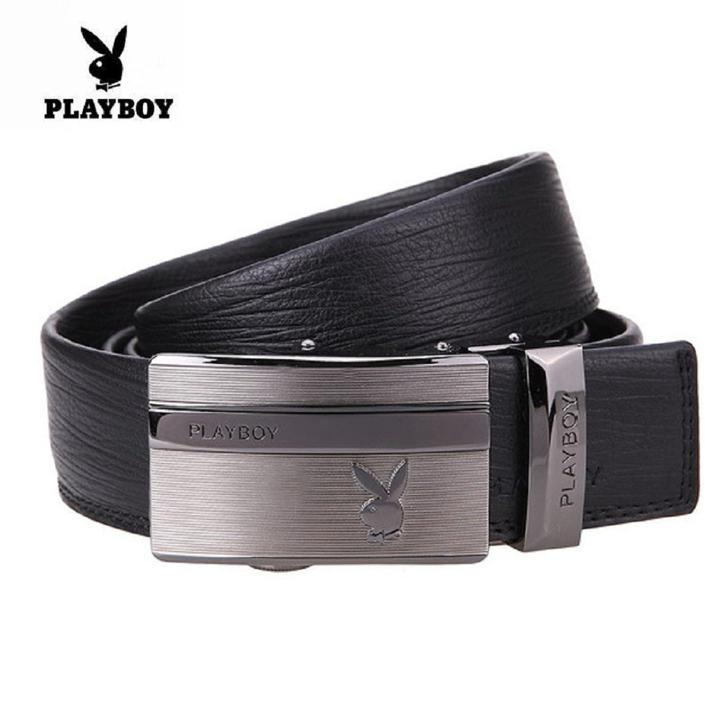 Men PLAYBOY Genuine Cowhide Leather Classic Belt-Fashion Accessories-Fashionapolis