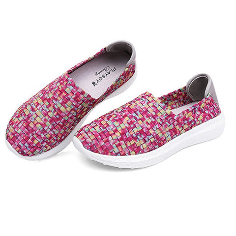 Women PLAYBOY BUNNY Colorful Weave Athletic Shoes