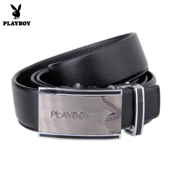 Men PLAYBOY Genuine Cowhide Leather Bunny Belt-Fashion Accessories-Fashionapolis