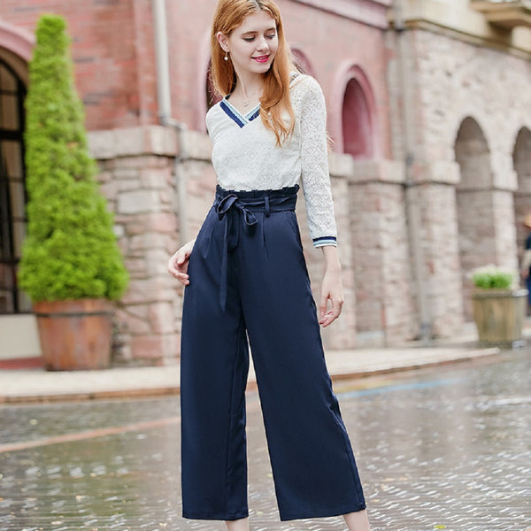 Women KANF Bow Belt Wide Leg Pants-WOMEN-Fashionapolis