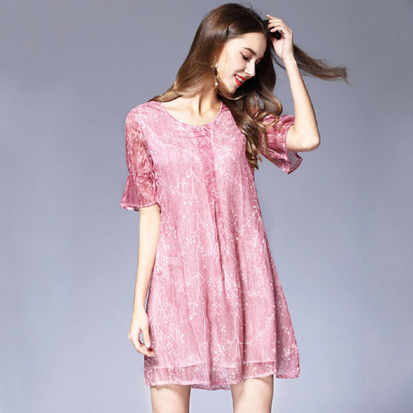 Women Chiffon Floral Leaves Short Sleeve Mini Dress-WOMEN-Fashionapolis