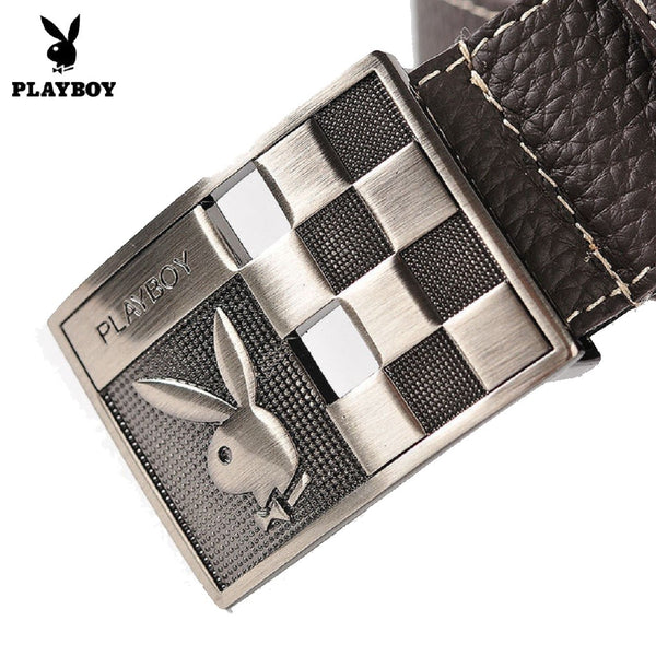 Men PLAYBOY Genuine Cowhide Leather Checkered Belt-Fashion Accessories-Fashionapolis