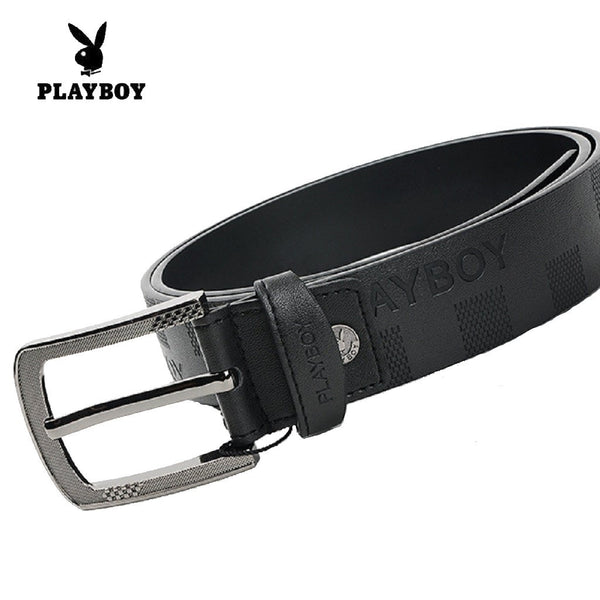 Men PLAYBOY Genuine Cowhide Square Grid Leather Belt-Fashion Accessories-Fashionapolis