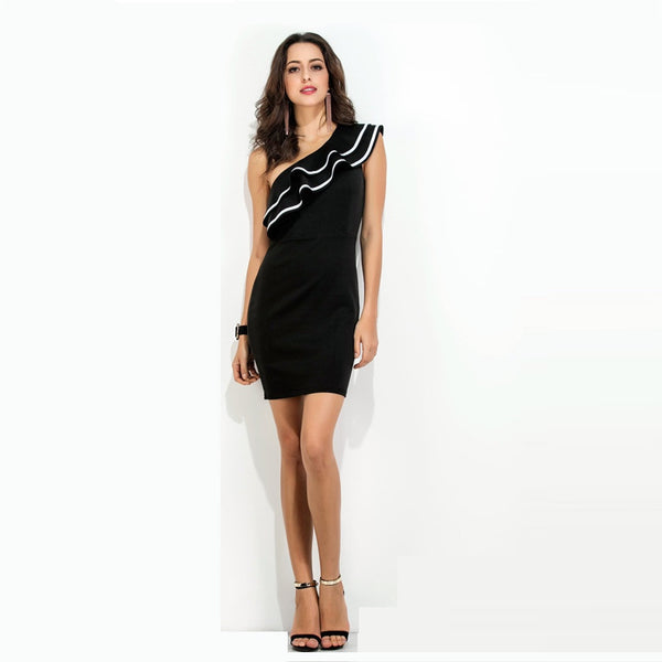 Women Sleeveless One Shoulder Diagonal Ruffle Mini Dress-WOMEN-Fashionapolis