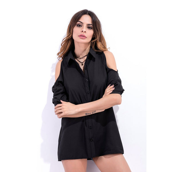Women Cold Shoulder Long Sleeve Lapel Shirt-WOMEN-Fashionapolis