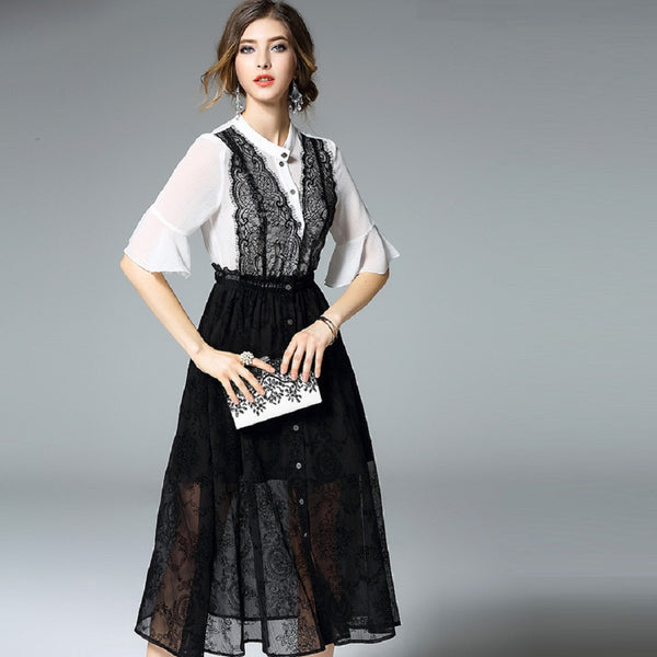 Women EWHEAT White Top Black Lace Skirt Midi Dress-WOMEN-Fashionapolis