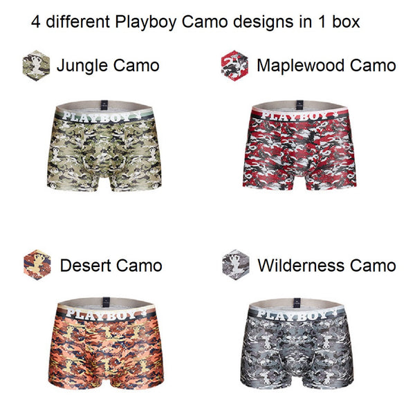 Men 4 Piece PLAYBOY Camo Series Boxer Brief-MEN-Fashionapolis