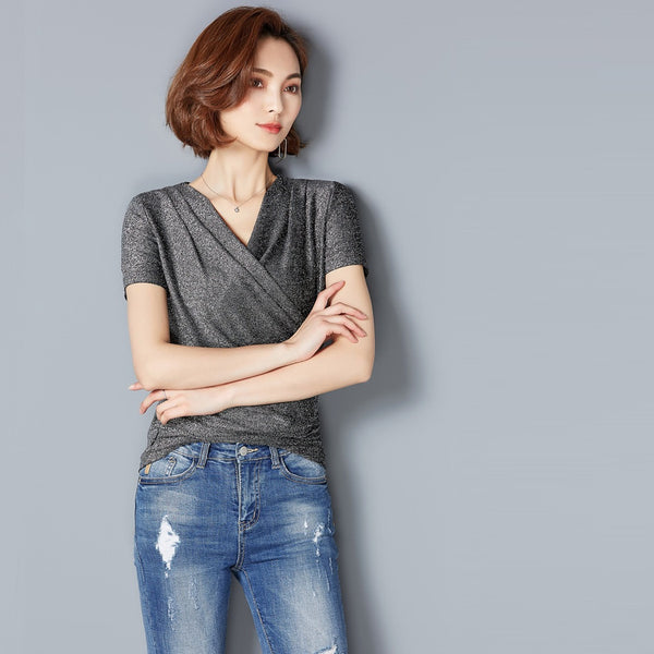 Women Korean Style Silver Silk V Neck Summer Blouse-WOMEN-Fashionapolis