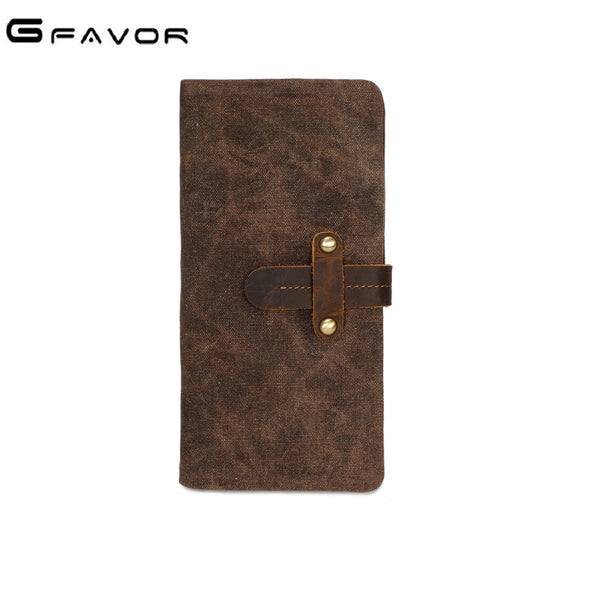 Unisex GFAVOR Waxed Canvas Leather Handmade Long Wallet-Bags-Fashionapolis