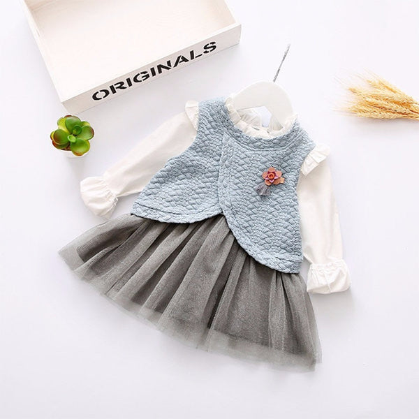 Kids Baby Children Girl Long Sleeve Net Yarn Dress-Kids & Babies-Fashionapolis