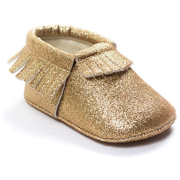 Kids Baby Girl Bling Shiny Tassels Prewalker Slip On Shoes-Shoes-Fashionapolis