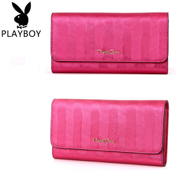 Women PLAYBOY BUNNY PU Leather Long Trifold Wallet-Bags-Fashionapolis