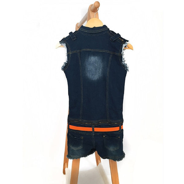 Women Detachable Denim Vest Shorts Jumpsuit-WOMEN-Fashionapolis
