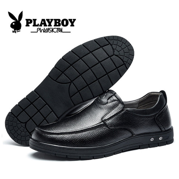 Men PLAYBOY PHYSICAL Genuine Cowhide Leather Business Shoes-Shoes-Fashionapolis