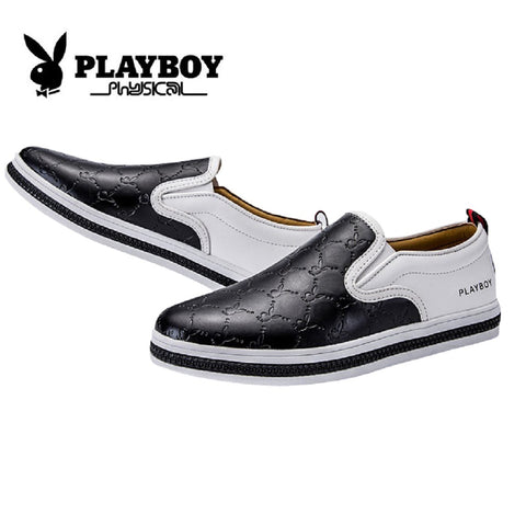 Men PLAYBOY PHYSICAL Genuine Cowhide Leather Bunny Loafer