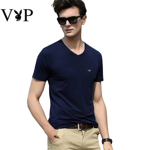 Men PLAYBOY VIP V Neck Short Sleeve T Shirt-MEN-Fashionapolis