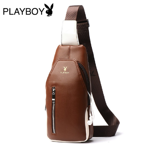 Men PLAYBOY PU Leather Chest Bag-Bags-Fashionapolis