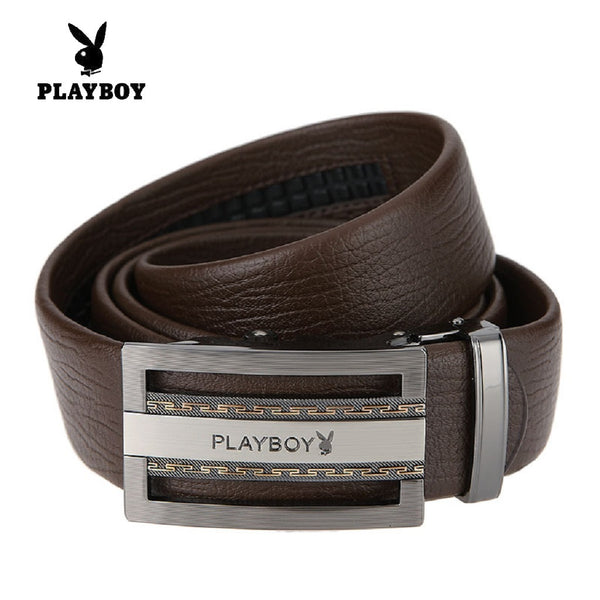 Men PLAYBOY Genuine Cowhide Leather Channel Belt-Fashion Accessories-Fashionapolis