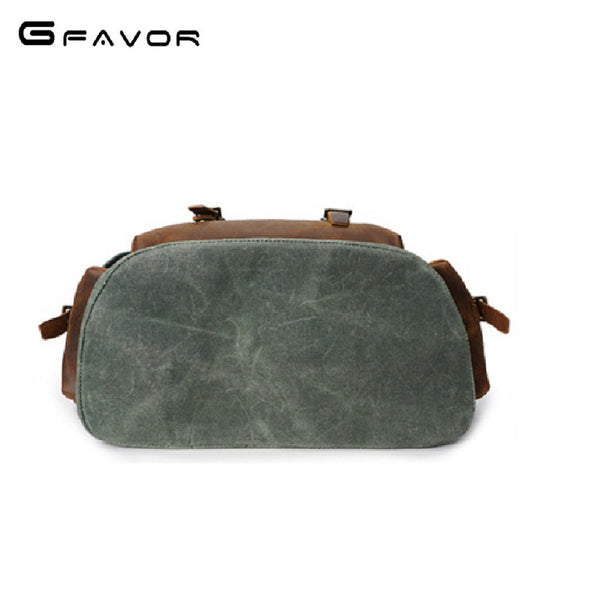 Men GFAVOR Waxed Canvas Leather Drawstring Backpack Bag-Bags-Fashionapolis