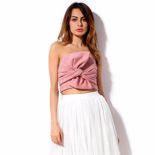 Women Off Shoulder Bowknot Crop Top-WOMEN-Fashionapolis
