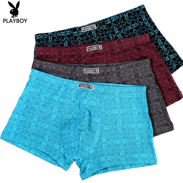 Men 4 Piece PLAYBOY Bunny Pattern Boxer Brief-MEN-Fashionapolis