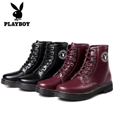 Women PLAYBOY BUNNY Faux Leather Boots Fashionapolis