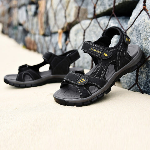 Men PLAYBOY PHYSICAL Expedition Cowhide Leather Sandals Fashionapolis